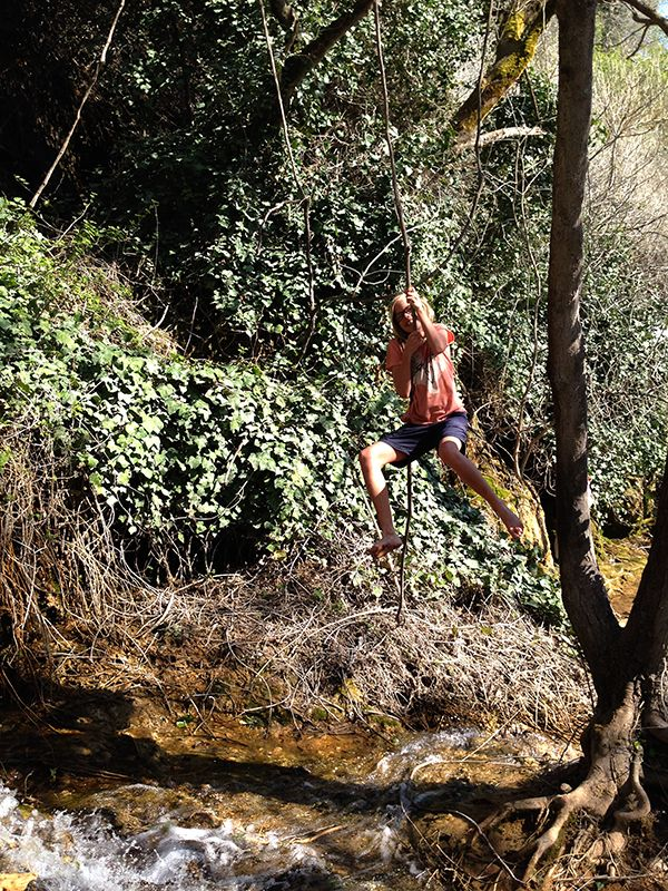 tate on a rope swing