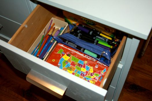 craft cabinet - crayons and markers