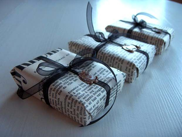 Use newspaper as gift wrap