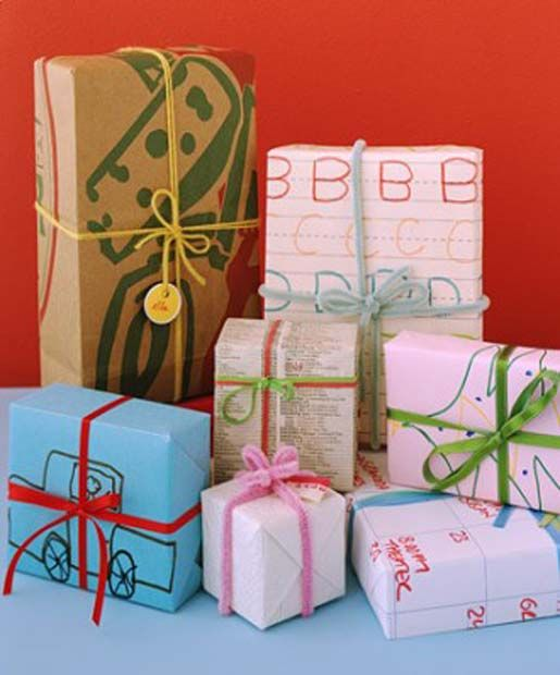 use children's artwork as wrapping paper