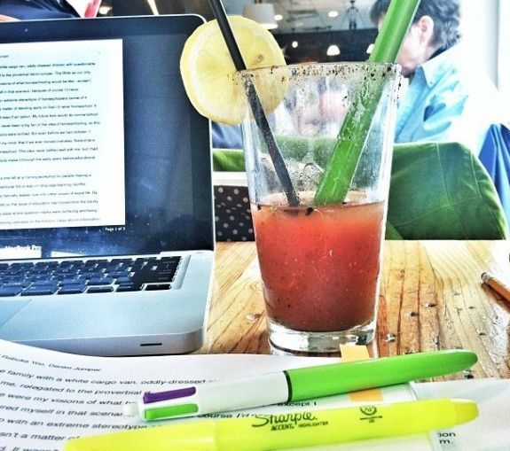 Book manuscript with bloody mary
