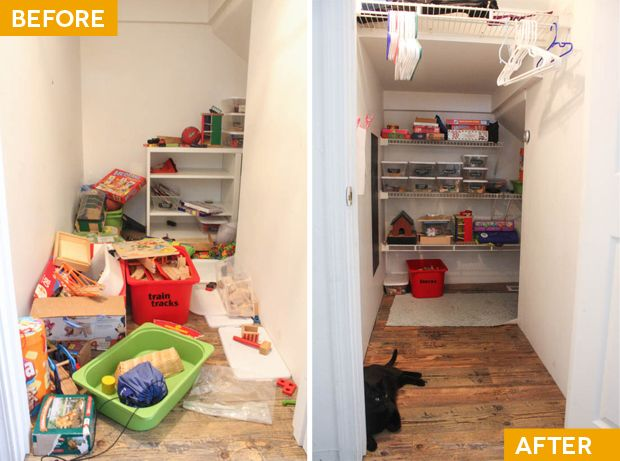 Narnia, our play closet—before and after