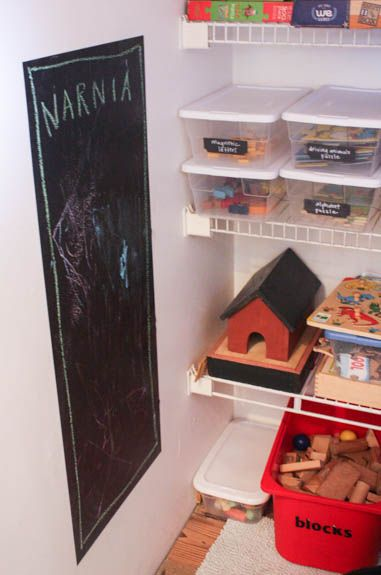 Use a strip of chalkboard contact paper for a simple, removable chalkboard.