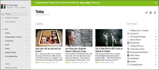feedly today screen