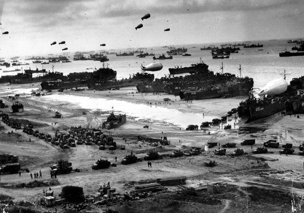 Taking the beaches in Normandy, World War II.