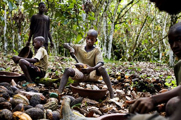 Child slavery is used in the chocolate industry. Don't turn a blind eye.