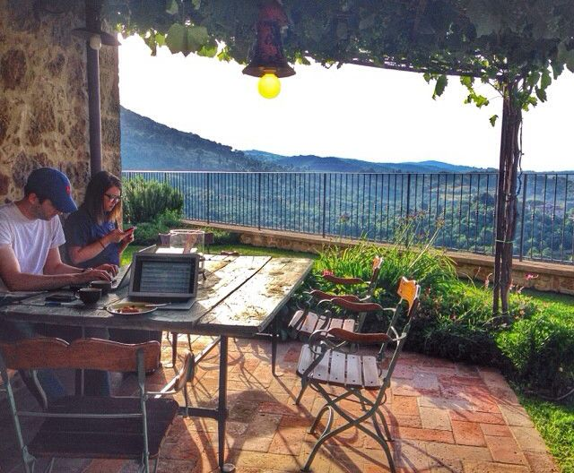 writing outside in Tuscany