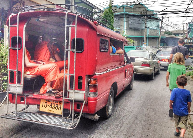 monks in a truck