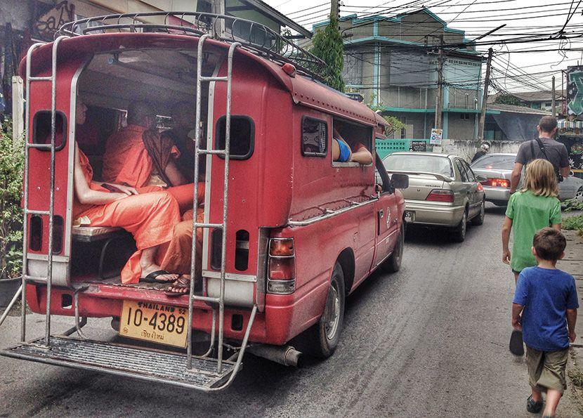 monks in trucks