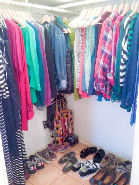 Decluttering clothes, toiletries, and books