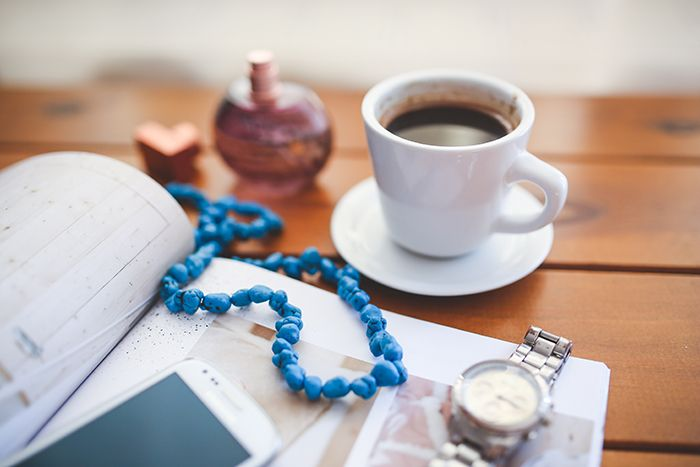 watch, necklace, coffee, phone